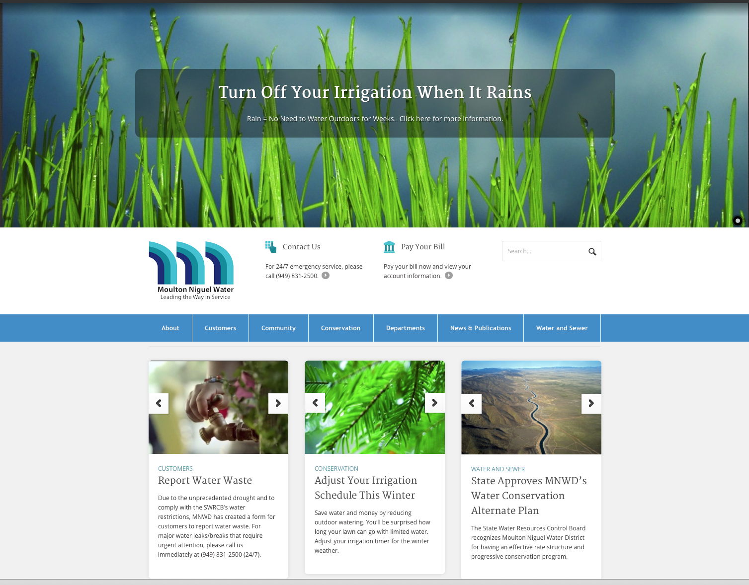 Moulton Niguel Water District Website and Branding